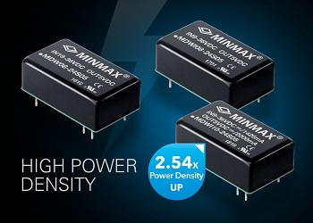 DC-DC converter modules offer power density up to 63.5W/in3 to give valuable space savings in 6W/8W/10W applications